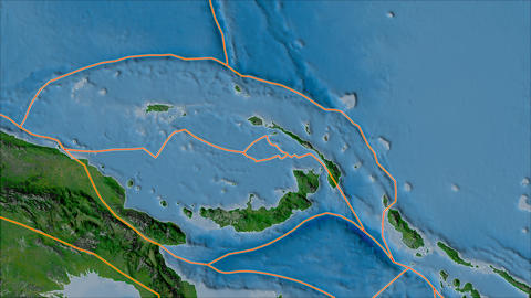 manus tectonic plate. Satellite imagery A. Borders first. Van der Grinten projection Animation