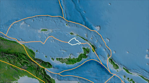manus tectonic plate. Satellite imagery A. Stroke first. Van der Grinten projection Animation