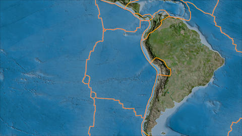 nazca tectonic plate. Satellite imagery B. Borders first. Van der Grinten projection Animation