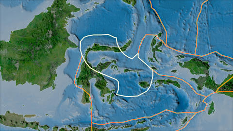 molucca sea tectonic plate. Satellite imagery A. Stroke first. Van der Grinten projection Animation