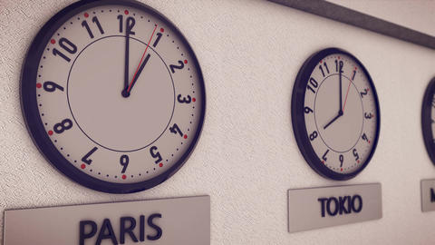 Clocks show time in different cities Animation