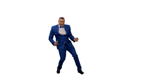 Man in blue suit dancing & singing, alpha channel Footage