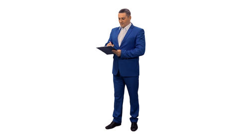 Businessman in blue suit taking notes, alpha channel Footage
