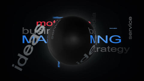 Marketing Business Strategy Word Cloud Text Animation With Sphere Animation
