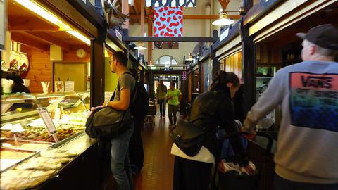 POV walk through empty aisle at Famous Hietalahti Market Hall in Helsinki Footage