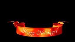 Happy Holidays Ribbon isolated, Alpha PNG Stock Video Footage