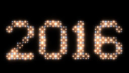 New Year 2016 text, animated lights, Alpha PNG Animation