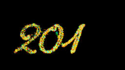 2016 Happy New Year made from colorful particles Alpha PNG Animation