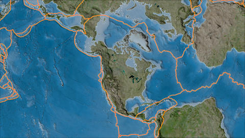 north america tectonic plate. Satellite imagery B. Borders first. Van der Grinten projection Animation