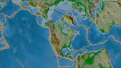 north america tectonic plate. Physical. Borders first. Van der Grinten projection Animation