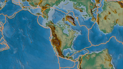 north america tectonic plate. Relief. Borders first. Van der Grinten projection Animation