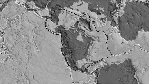 north america tectonic plate. Bilevel elevation. Stroke first. Van der Grinten projection Animation