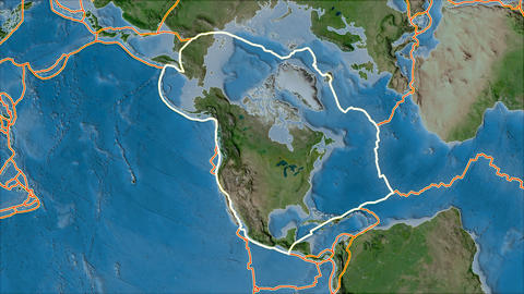 north america tectonic plate. Satellite imagery A. Stroke first. Van der Grinten projection Animation