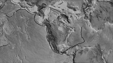 north america tectonic plate. Elevation grayscale. Stroke first. Van der Grinten projection Animation