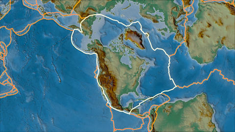 north america tectonic plate. Relief. Stroke first. Van der Grinten projection Animation