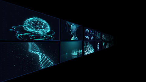 Digital Network Technology AI artificial intelligence data concepts Background B Tate B3 2x2 blue CG動画