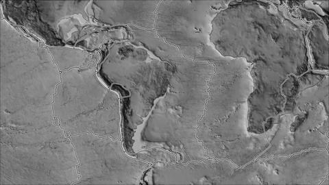 south america tectonic plate. Elevation grayscale. Borders first. Van der Grinten projection Animation