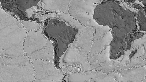 south america tectonic plate. Bilevel elevation. Borders first. Van der Grinten projection Animation