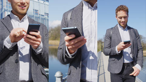 Smartphone - Young urban professional business man using phone walking in Park Live Action