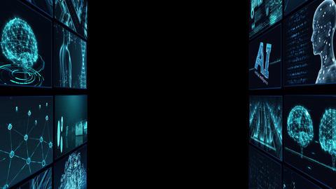 Digital Network Technology AI artificial intelligence data concepts Background B Tate D1 2x2 blue CG動画