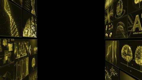 Digital Network Technology AI artificial intelligence data concepts Background B Tate D1 Mix yellow CG動画