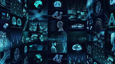 Digital Network Technology AI artificial intelligence data concepts Background B Tate E1 3x3 blue CG動画