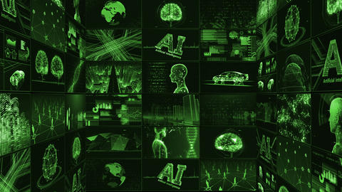 Digital Network Technology AI artificial intelligence data concepts Background B Tate E1 3x3 green CG動画