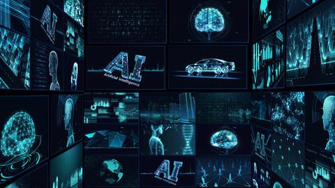 Digital Network Technology AI artificial intelligence data concepts Background B Tate E1 Mix blue CG動画