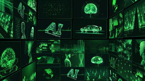Digital Network Technology AI artificial intelligence data concepts Background B Tate E1 Mix green Animation