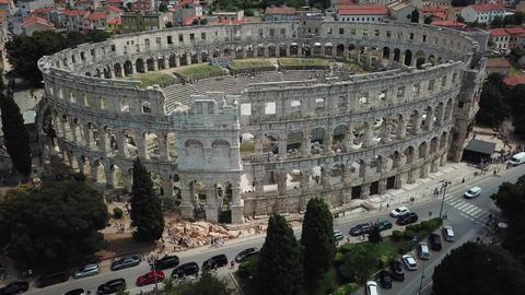 Aerial View of Pula Arena Amphitheatre, Historic Roman Architecture, Croatia Live Action