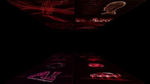 Digital Network Technology AI artificial intelligence data concepts Background B Yoko A1 2x2 red CG動画