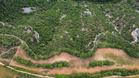 Aerial view of a scenic canyon and river Live Action