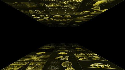 Digital Network Technology AI artificial intelligence data concepts Background B Yoko A1 3x3 yellow CG動画