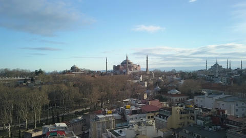 Aerial View of Hagia Sophia Mosque and Museum, Landmark of Istanbul Turkey Live Action