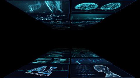 Digital Network Technology AI artificial intelligence data concepts Background B Yoko A2 2x2 blue Animation