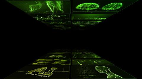 Digital Network Technology AI artificial intelligence data concepts Background B Yoko A2 2x2 green Animation