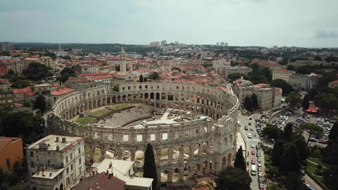 Pula, Croatia. Aerial View of Roman Arena Amphitheatre Landmark and Cityscape Live Action