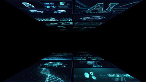 Digital Network Technology AI artificial intelligence data concepts Background B Yoko A3 2x2 blue CG動画