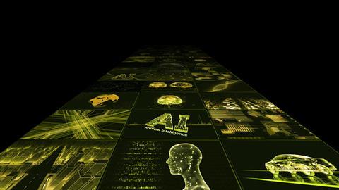 Digital Network Technology AI artificial intelligence data concepts Background B Yoko B1 3x3 yellow CG動画