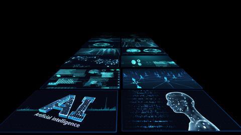 Digital Network Technology AI artificial intelligence data concepts Background B Yoko B2 2x2 blue CG動画