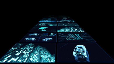 Digital Network Technology AI artificial intelligence data concepts Background B Yoko B3 2x2 blue Animation
