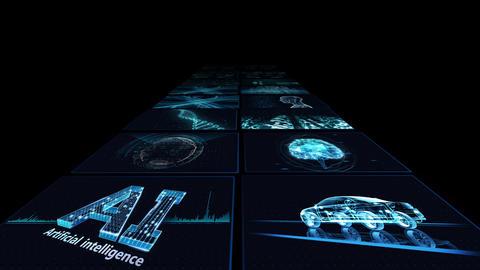 Digital Network Technology AI artificial intelligence data concepts Background B Yoko B1 2x2 blue CG動画