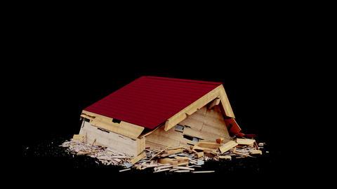 Wooden House Destruction Animation