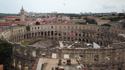 Roman Amphitheatre, Aerial View of Pula Arena, Seagulls Flying Above Landmark Live Action