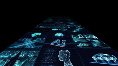 Digital Network Technology AI artificial intelligence data concepts Background B Yoko B1 3x3 blue CG動画