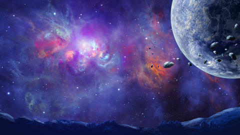 Space background. Fly through planet with asteroid and mountain land silhouette in colorful nebula. Animation