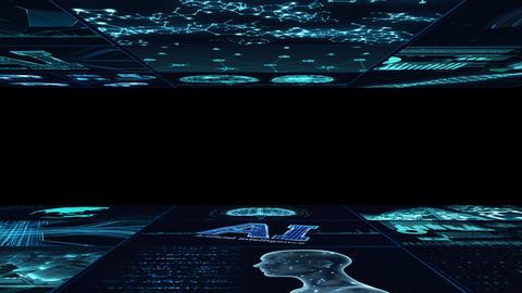 Digital Network Technology AI artificial intelligence data concepts Background B Yoko C1 3x3 blue Animation