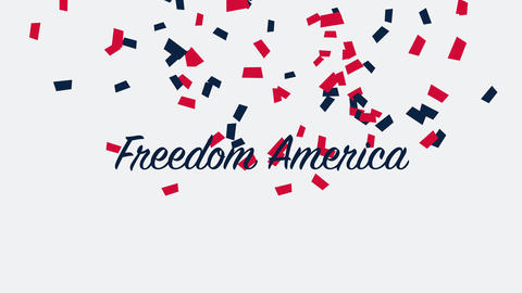 Animated closeup text Freedom America on holiday background, Nation Day of USA Animation