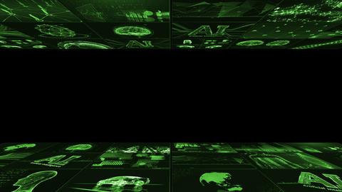 Digital Network Technology AI artificial intelligence data concepts Background B Yoko D1 3x3 green CG動画