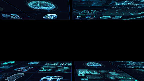 Digital Network Technology AI artificial intelligence data concepts Background B Yoko D1 Mix blue Animation